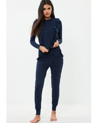 Missguided - Navy Frill Lounge Tracksuit - Lyst