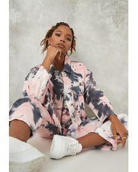Missguided Co Ord Tie Dye Pleat Back Denim Jacket - Pink