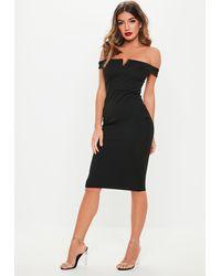 Missguided Black V Front Bardot Midi Dress
