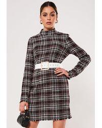 Missguided Boucle High Neck Mini Dress - Black