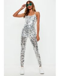 867ae53e414 Missguided Silver Tall Exclusive Metallic Lattice Back Jumpsuit in ...