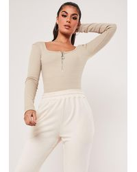 Missguided Ribbed Zip Front Scoop Neck Bodysuit - Natural