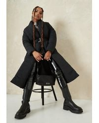 Missguided Black Shawl Collar Belted Puffer Coat