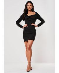 Missguided Black Milkmaid Long Sleeve Bodycon Mini Dress