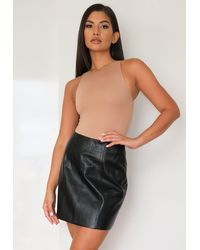 Missguided Faux Leather Panel Detail Mini Skirt - Black