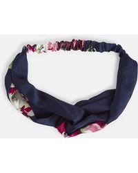 Missguided | Navy Floral Twist Satin Headband | Lyst