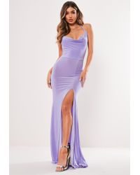Missguided Lilac Slinky Cowl Neck Split Detail Maxi Dress - Purple