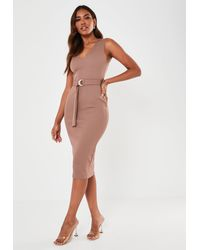 Missguided - Raw Edge V Neck Belted Midaxi Dress - Lyst