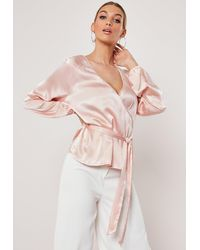 Missguided Blush Wrap Tie Waist Satin Blouse - Pink