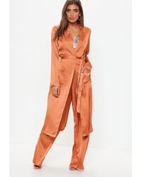 Missguided - Terracotta Satin Tie Waist Duster Jacket - Lyst