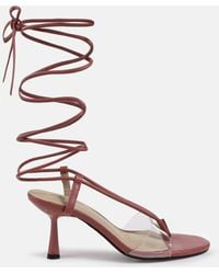 Missguided Blush Clear Panel Tie Up Feature Heel Sandals - Pink