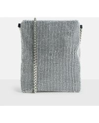 Missguided   Silver Diamante Glitter Chainmail Cross Body Bag   Lyst