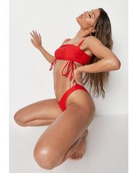 Missguided Ruched Side Strappy Bandeau Bikini Top - Red