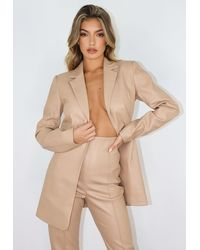 Missguided Nude Co Ord Faux Leather Blazer - Natural