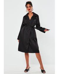 Missguided Black Satin Belted Duster Jacket