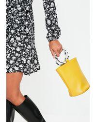 Missguided Yellow Mock Tortoiseshell Handle Bucket Bag