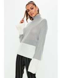 Missguided - Grey Colourblock High Neck Knitted Jumper - Lyst 1735146f6
