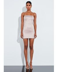 Missguided Nude Satin Structured Curve Mini Dress - Natural
