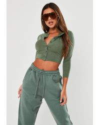 Missguided Button Front Long Sleeve Crop Top - Green