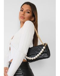 Missguided Black Quilted Pearl Handle Bag