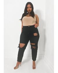 Missguided - Size Black Washed Busted Knee Mom Jeans - Lyst