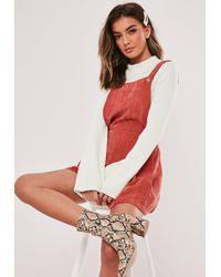 Missguided Rust Cord Pinafore Romper - Red
