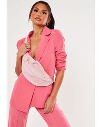 Missguided Croc Chunky Waist Top Handle Bum Bag - Pink