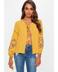 Missguided - Mustard Yellow Floral Embroidered Sleeve Tie Front Blouse - Lyst
