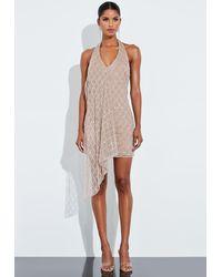 Missguided - Nude Silver Drop Pearl Embellished Drape Mini Dress - Lyst