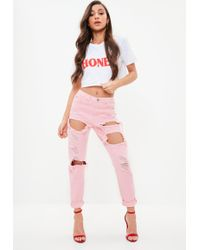 Missguided - Pink Riot High Rise Ripped Jeans - Lyst