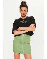 Missguided Khaki Superstretch Zip Through Denim Mini Skirt - Green