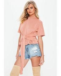 Missguided - Pink Soft Loopback Tie Front Top - Lyst