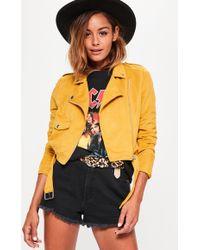Missguided - Faux Suede Belted Biker Jacket Mustard - Lyst