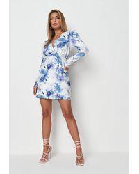 Missguided Blue Floral Print Wrap Blazer Dress