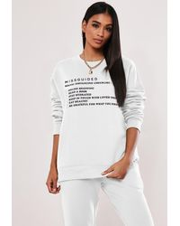 Missguided White Social Distancing Checklist Graphic Jumper