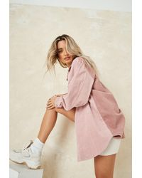 Missguided Cord Splice Shacket - Pink