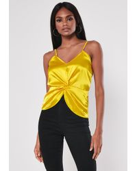 6c71051823430 Missguided - Yellow Satin Twist Front Cami Top - Lyst