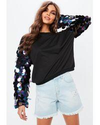 Missguided - Black Big Disc Sequin Sweatshirt - Lyst