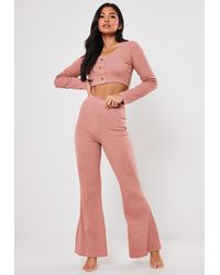 Missguided Rib Button Front Loungewear Set - Pink