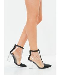 Missguided - Black Clear Toe Cap Ankle Boots - Lyst