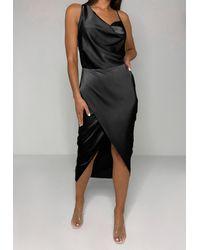 Missguided Petite Black Satin Asymmetric Drape Midi Dress