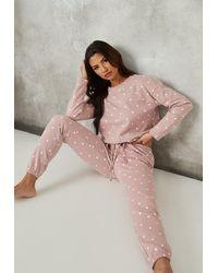 Missguided Polka Dot Brushed Back Jogger Pyjama Set - Pink