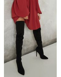 Missguided - Faux Suede Mid Heel Over The Knee Boots - Lyst