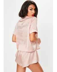 Missguided Pink Satin Bridesmaid Piped Short Pyjama Set