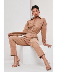Missguided Sand Faux Suede Utility Jumpsuit - Natural
