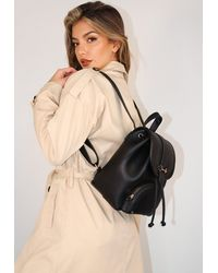 Missguided Black Faux Leather Trim Backpack