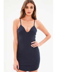 Missguided - Petite Navy Strappy Plunge Bodycon Dress - Lyst