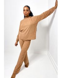 Missguided Camel Towel Texture Hoodie Flared Loungewear Set - Natural