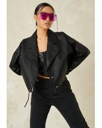 Missguided Black Faux Leather Slouch Biker Jacket