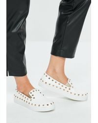 Missguided - White Studded Slip On Trainers - Lyst